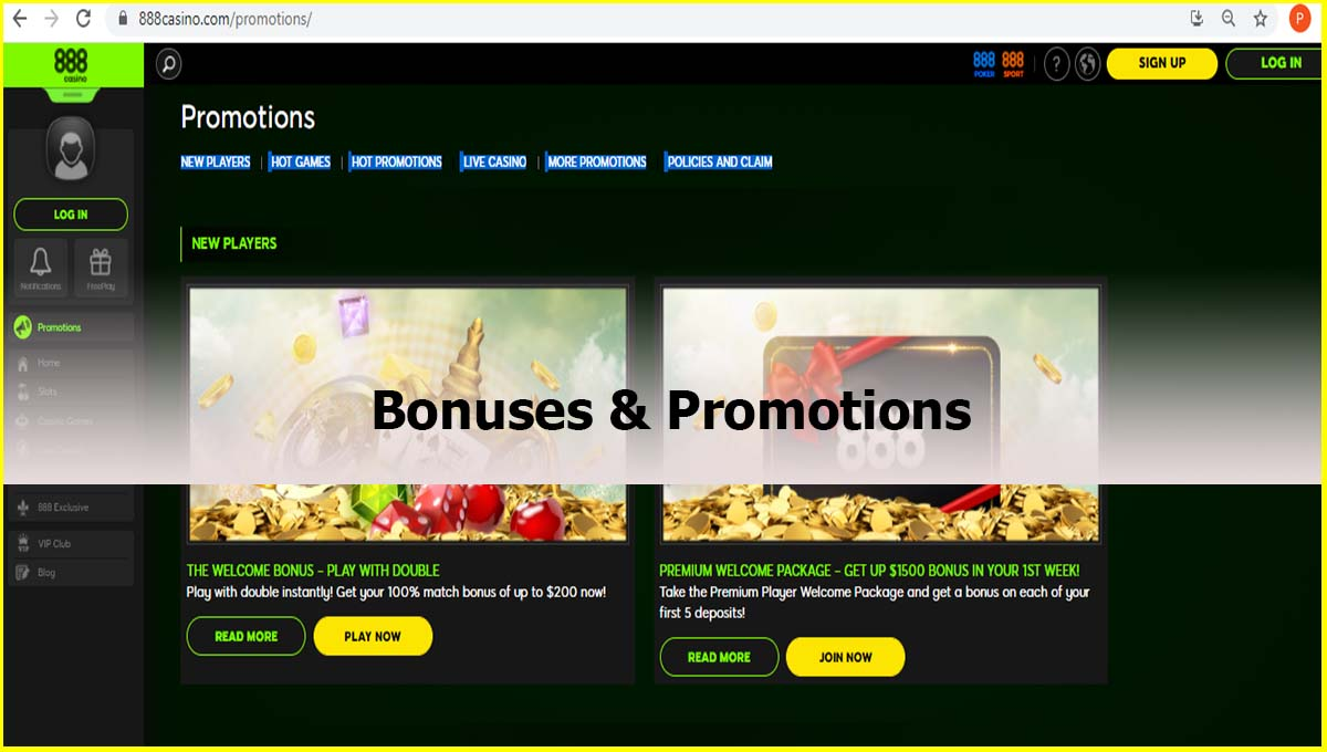 888 Casino Bonuses and promotions review
