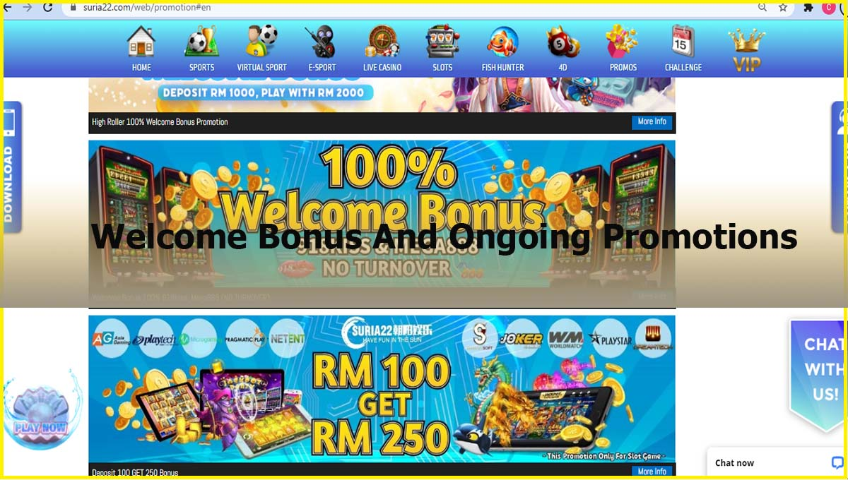 Suria22 Online Casino Malaysia Welcome Bonus And Ongoing Promotions